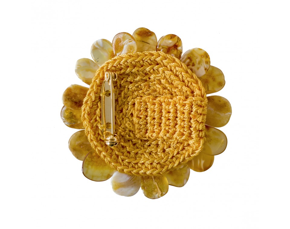 Orange matt x white flower brooch