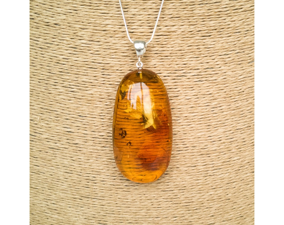 Oval shape cognac color amber pendant #04