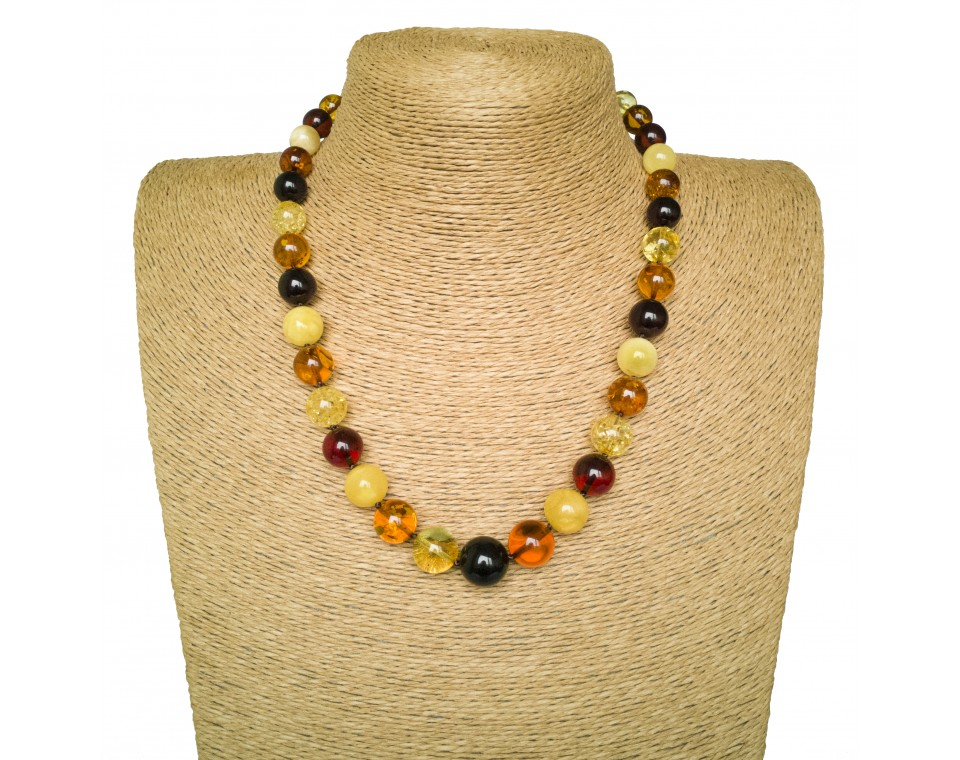 Round multicolor amber necklace (19mm)