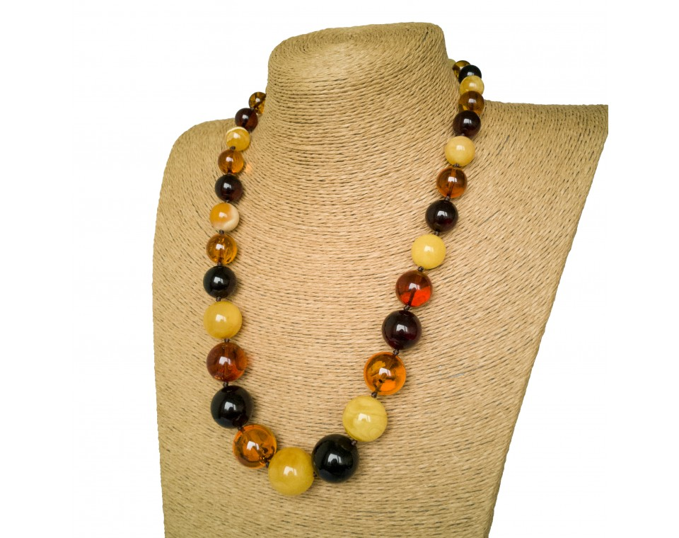 Round multicolor amber necklace (20mm)