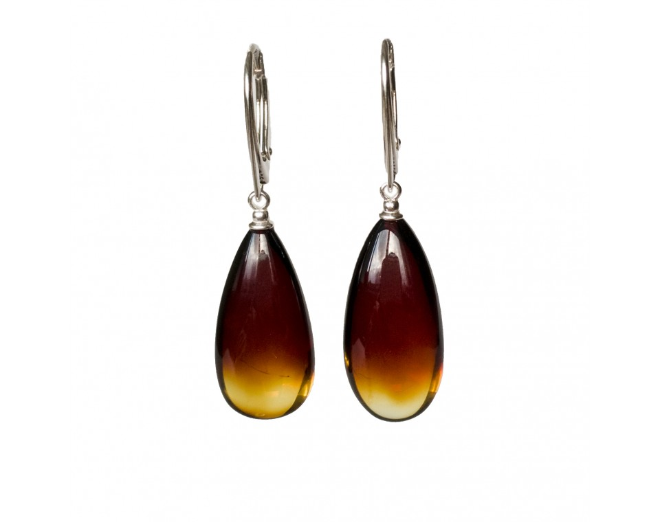 S natural amber cherry drops earrings #01
