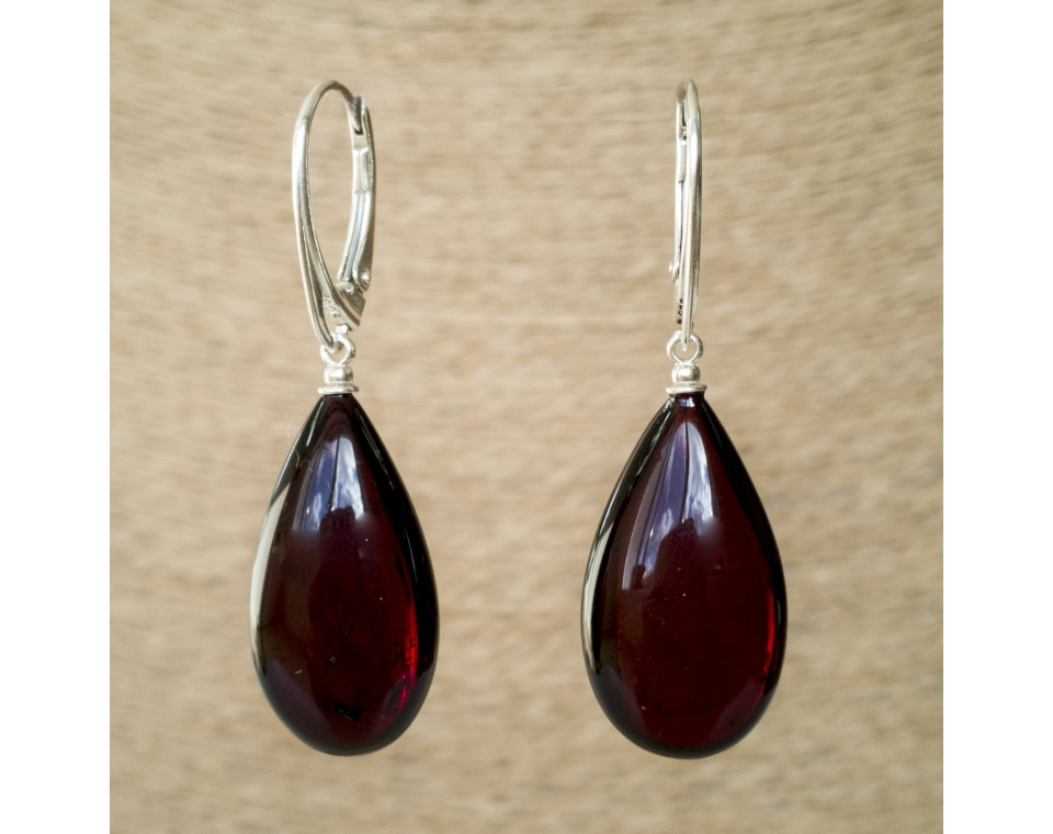 S natural amber cherry drops earrings #02