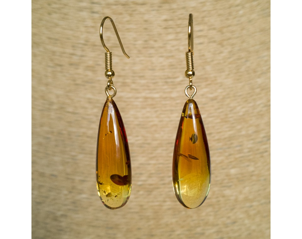 S natural amber cognac drops earrings #03