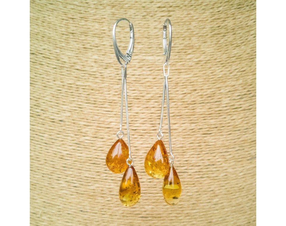 SY cognac color amber drops earrings #05