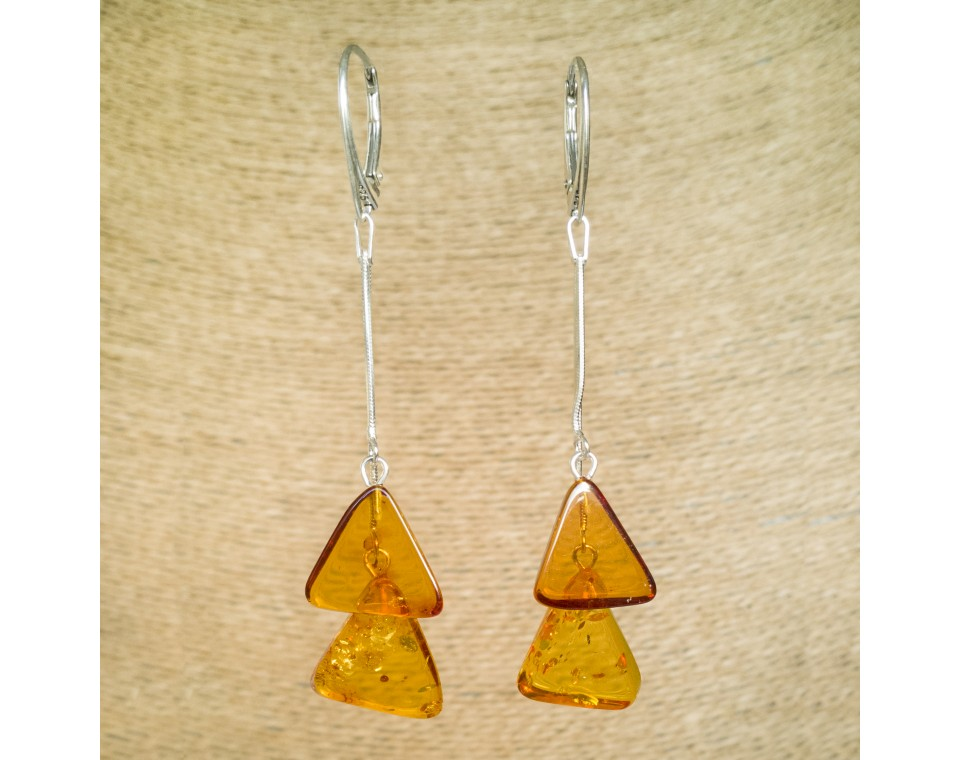 SY earrings with 2 cognac triangles
