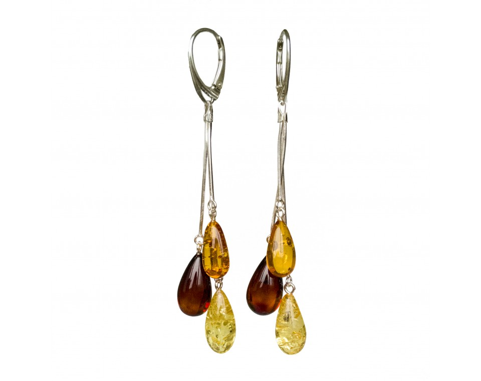 SY mix color amber drops earrings #05