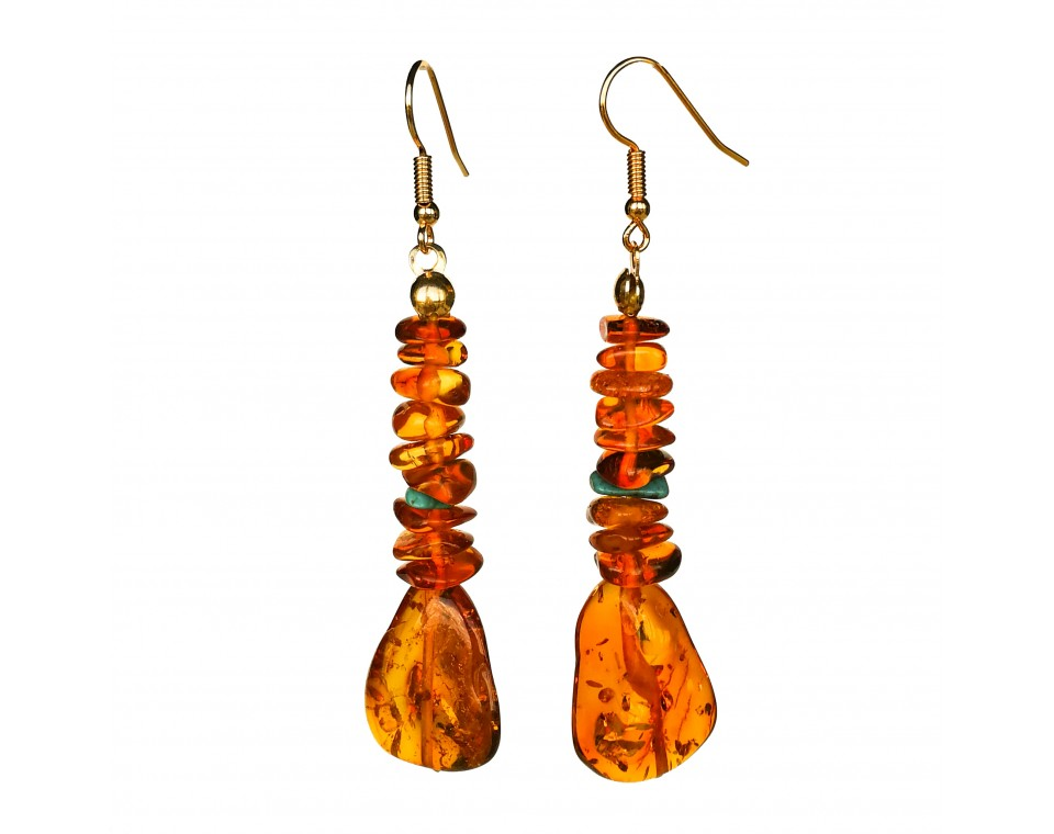 Cognac chips x turqoise earrings