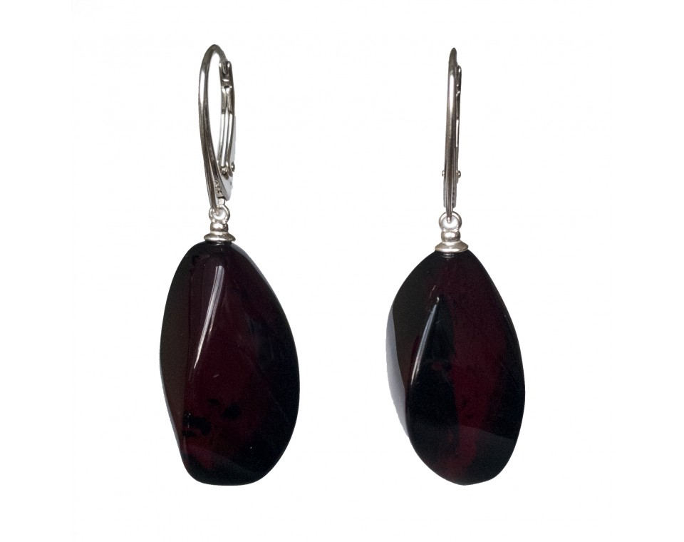 Twisted cherry color amber earrings #03