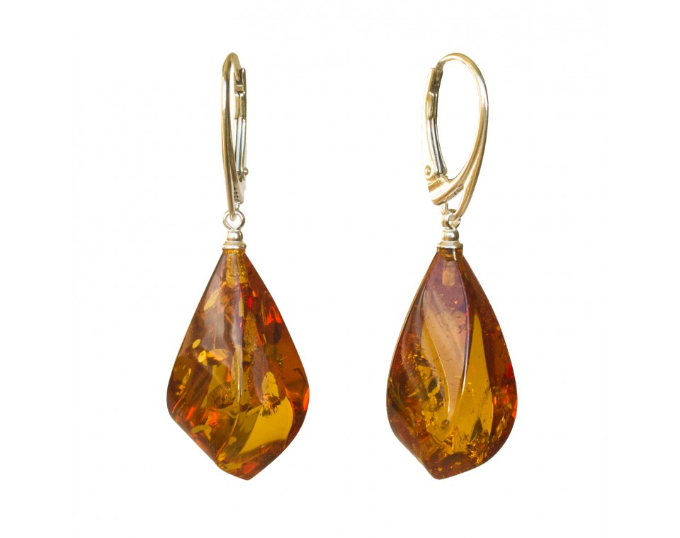 Twisted cognac color amber earrings #03