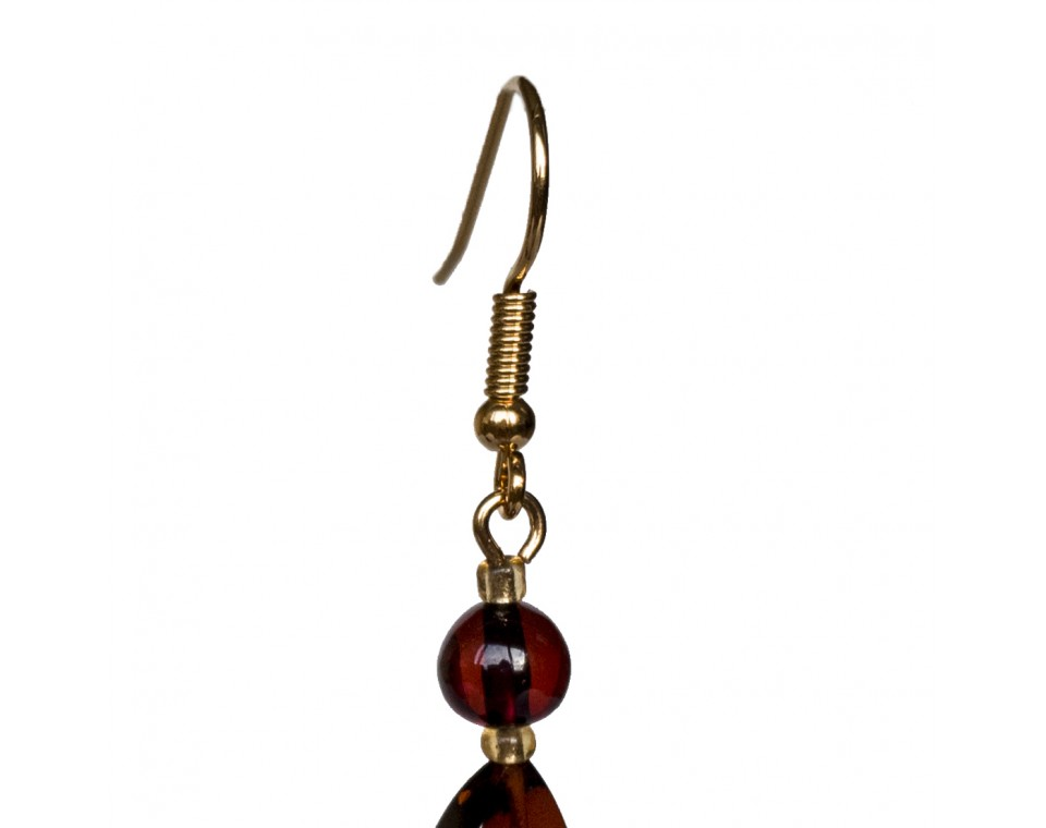 Twisted cognac earrings #01
