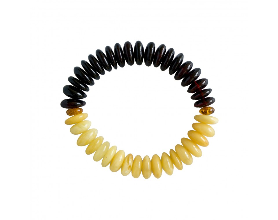 Two segments natural amber cherry and white color tablets bracelet