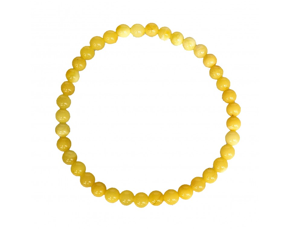 White color natural amber round (5mm) beads bracelet