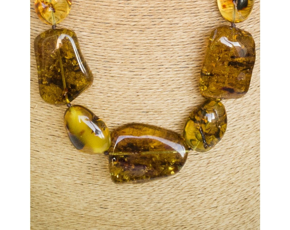 XL cognac free form copal necklace #01