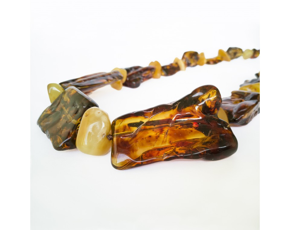 XL cognac x matt free form copal necklace #01