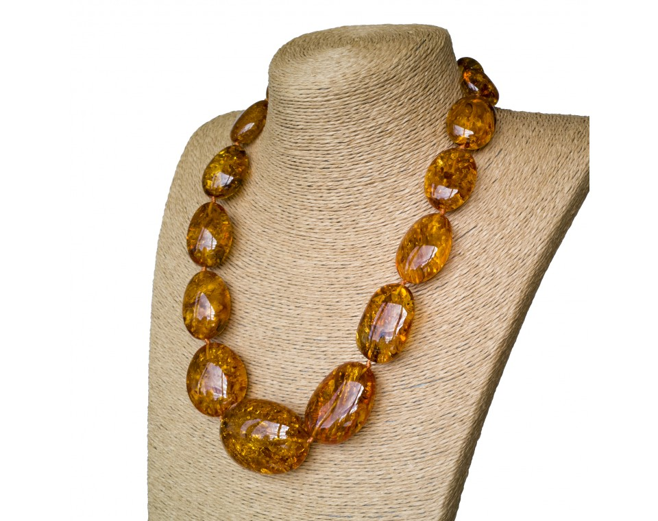 XL oval cognac statement necklace