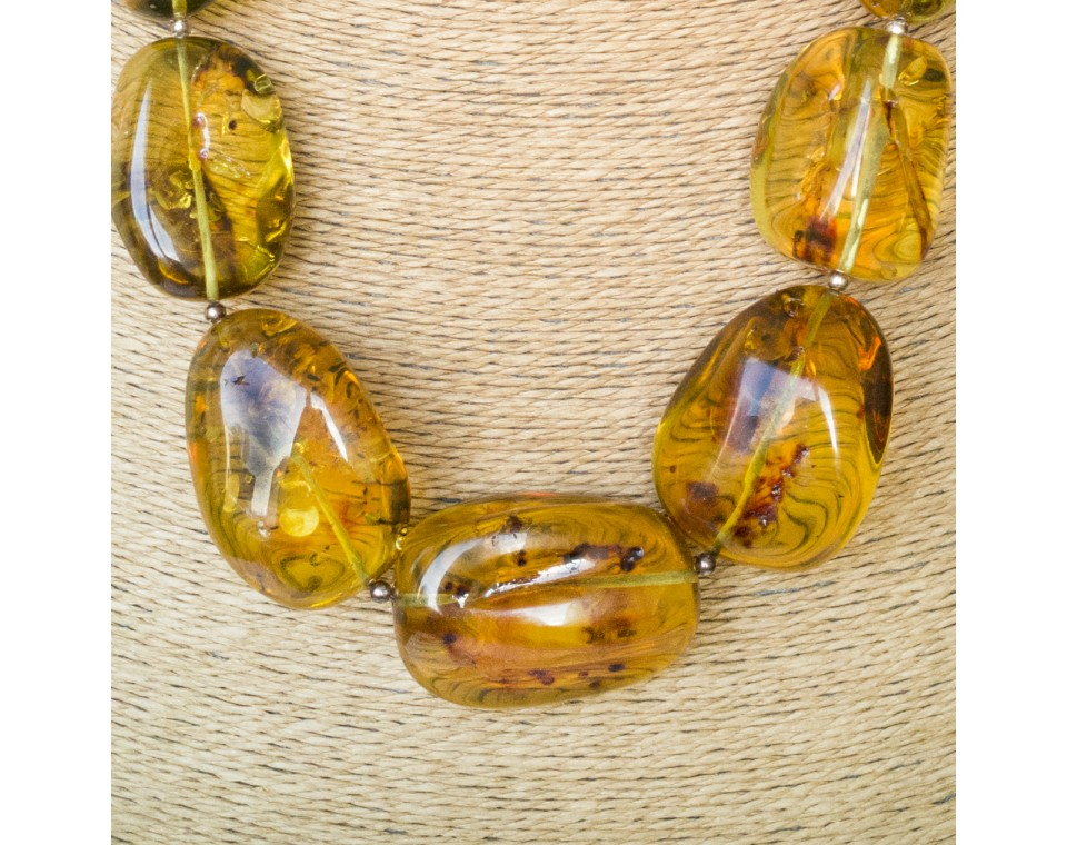 XL semi-raw shape cognac color copal necklace #01