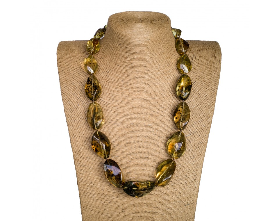 XL twisted green long statement necklace