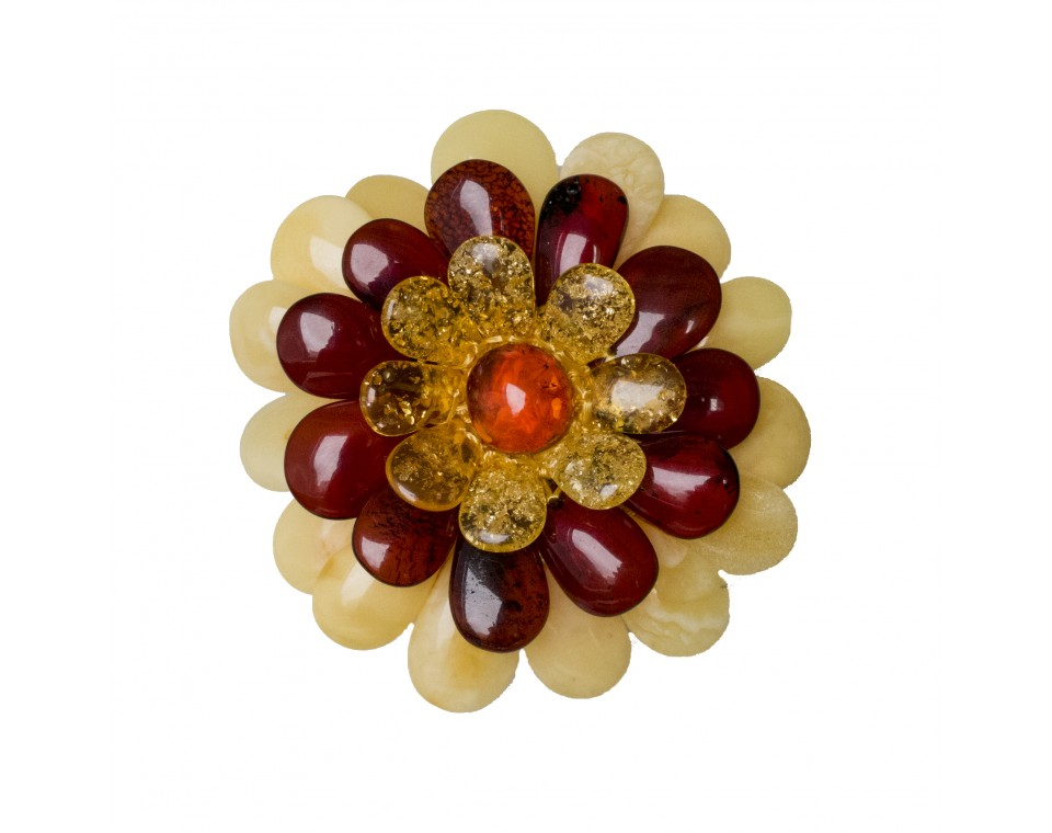 Yellow x cherry x matt flower brooch