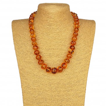 Cognac color natural amber nuggets necklace #02
