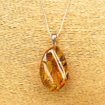 Natural amber green color drop pendant #01