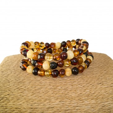 3 pcs of natural amber multicolor baroque bracelets