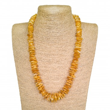 Bright orange color natural amber chips necklace