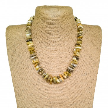 Bright white and green colors natural amber chips necklace