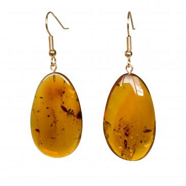 Cognac amber leafs earrings #02
