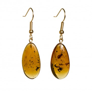 Cognac amber leafs earrings #05