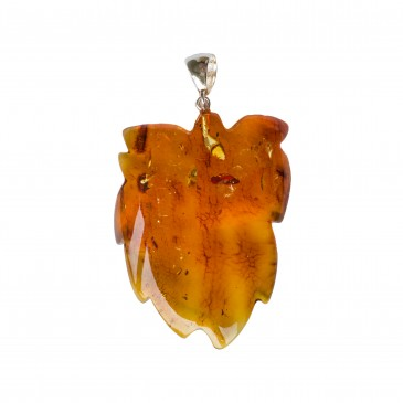 Cognac color amber leaf pendant #02