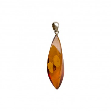 Cognac color amber pendant with a twist #01