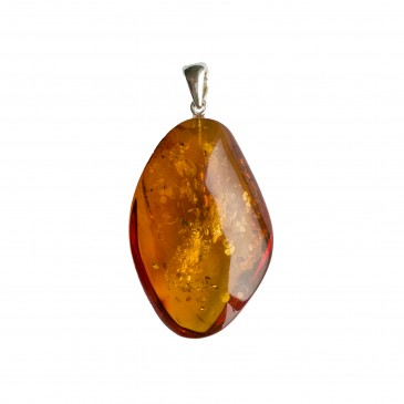Cognac color amber pendant with a twist #03