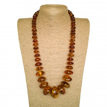 Cognac color natural amber nuggets necklace #01