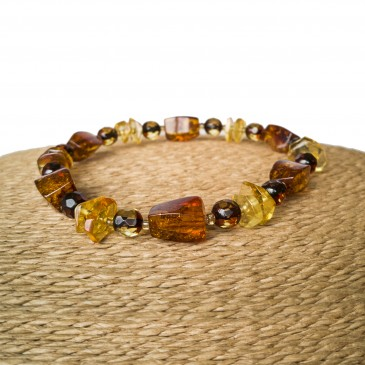 Cognac fragments x light faceted beads bracelet