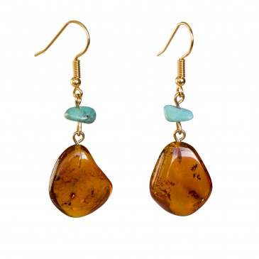 Cognac leafs x turqoise earrings #02