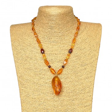Twisted shape cognac color natural amber pendant necklace #02