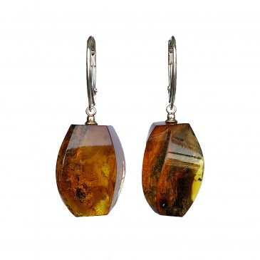 Green color amber earrings fragments #01
