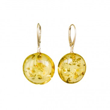 Flat round copal earrings in lemon color #04