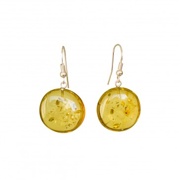 Flat round copal earrings in lemon color #05