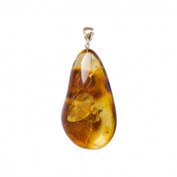 Free form lemon color amber pendant #02