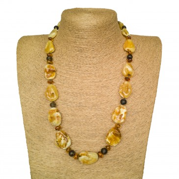 Free shape natural amber matt necklace #06