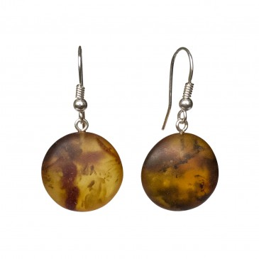 Frozen cognac color amber round earrings