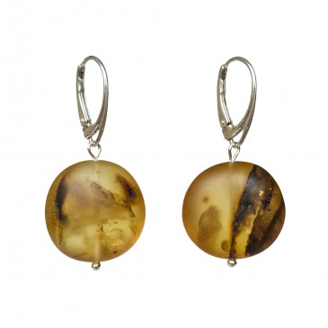 Frozen green amber round earrings #01