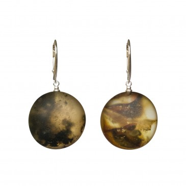 Frozen green amber round earrings #04