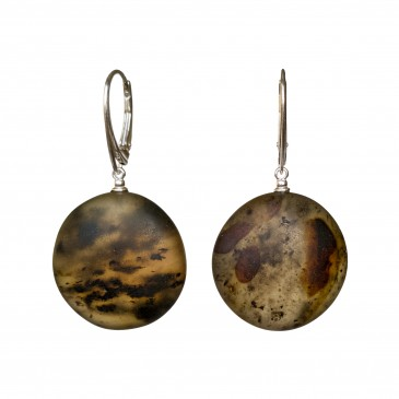 Frozen green amber round earrings #05