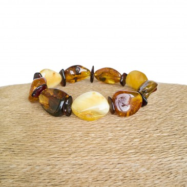 Genuine amber multicolor natural shape beads bracelet