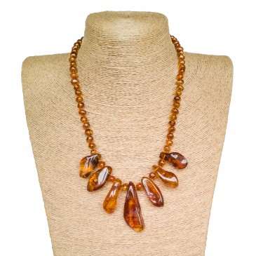 Genuine Baltic amber cognac color free shape necklace