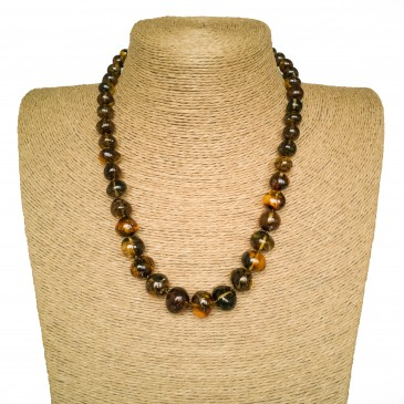 Green amber baroque necklace #01