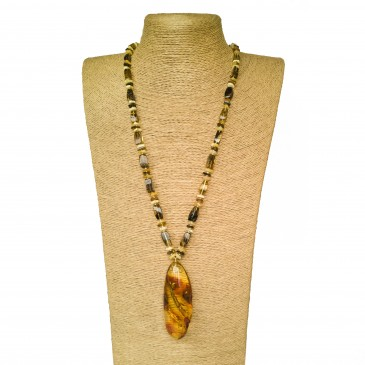 Green amber x matt fragments necklace #01