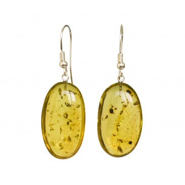 Green color copal bean earrings #01